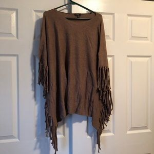 Lisa International Soft Fringed Poncho